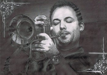 A man playing on the trumpet